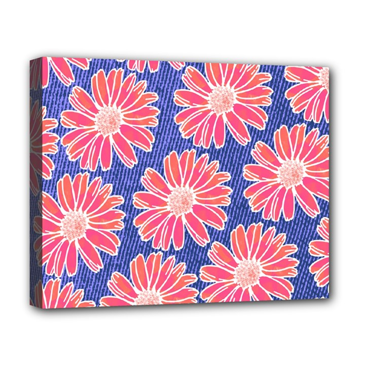 Pink Daisy Pattern Deluxe Canvas 20  x 16