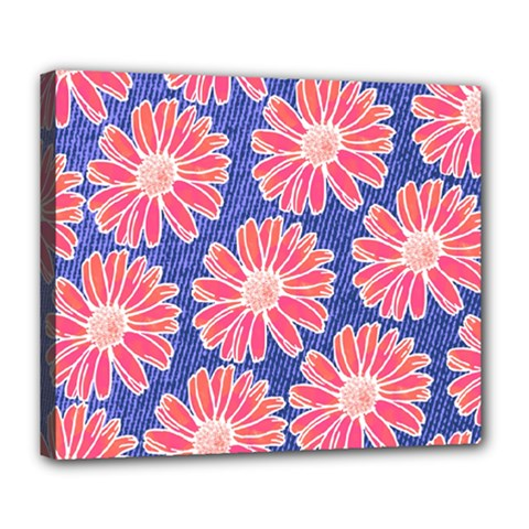 Pink Daisy Pattern Deluxe Canvas 24  x 20
