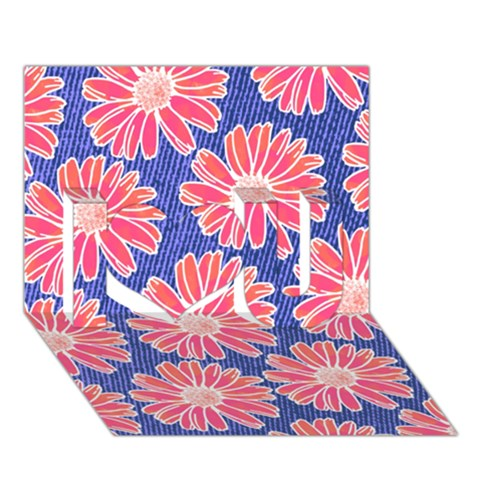 Pink Daisy Pattern I Love You 3D Greeting Card (7x5)