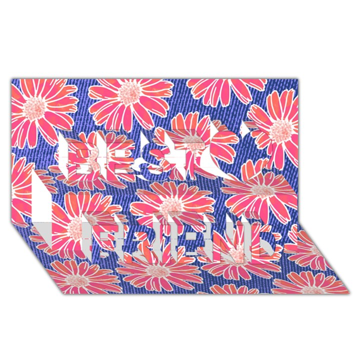 Pink Daisy Pattern Best Friends 3D Greeting Card (8x4)
