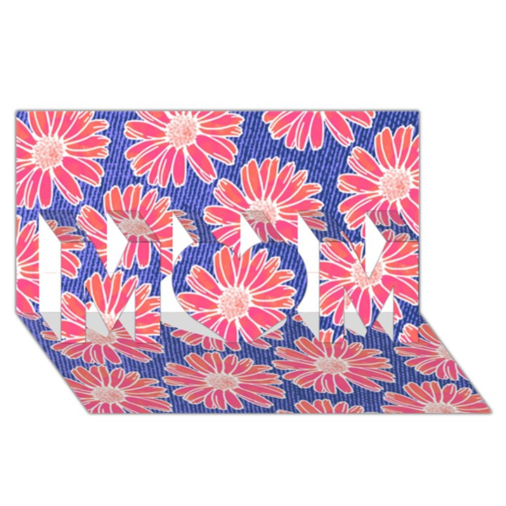 Pink Daisy Pattern MOM 3D Greeting Card (8x4)