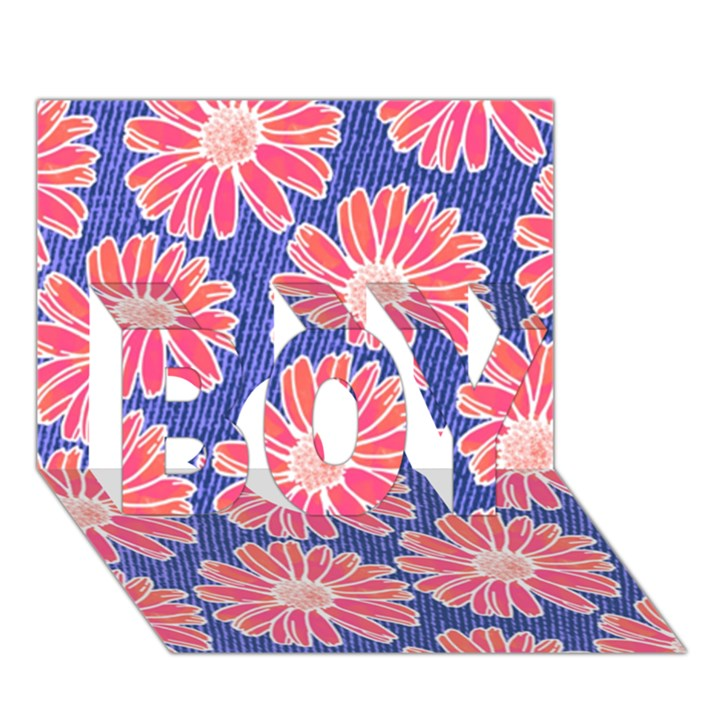 Pink Daisy Pattern BOY 3D Greeting Card (7x5)