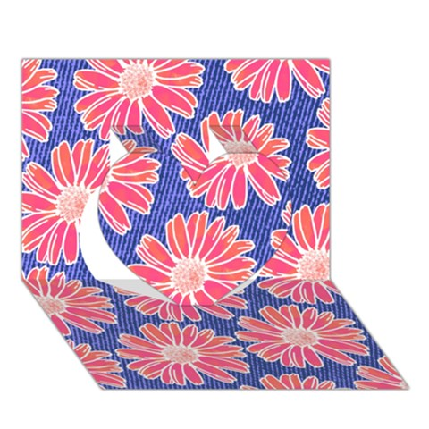 Pink Daisy Pattern Heart 3D Greeting Card (7x5)