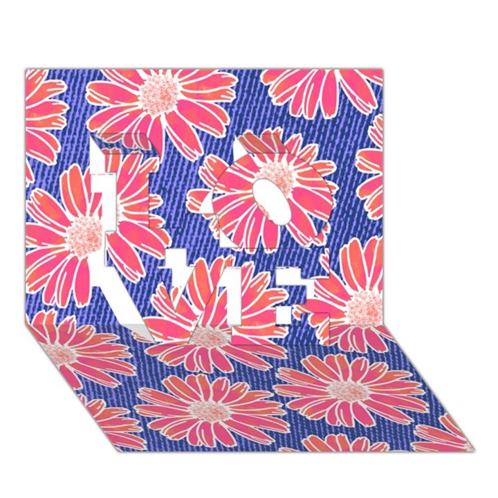 Pink Daisy Pattern LOVE 3D Greeting Card (7x5)