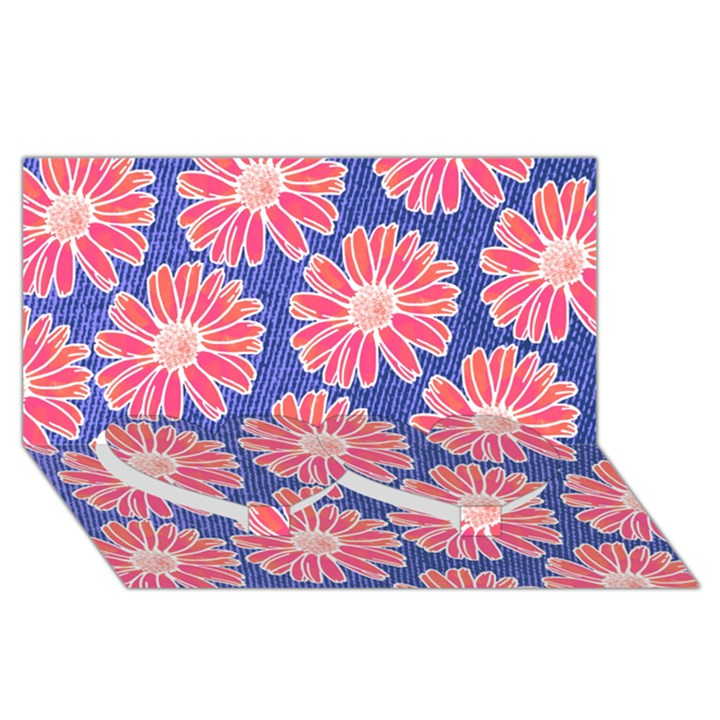Pink Daisy Pattern Twin Heart Bottom 3D Greeting Card (8x4)