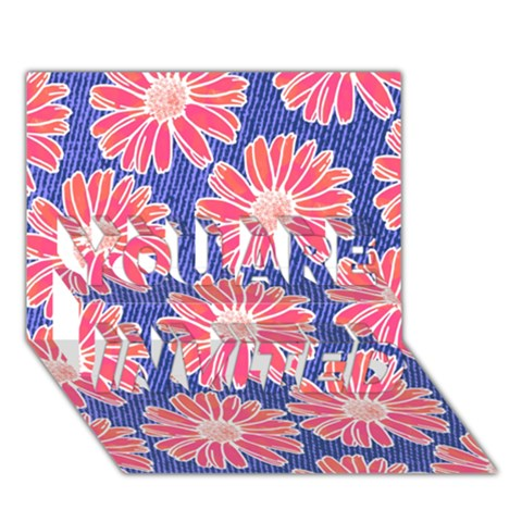 Pink Daisy Pattern YOU ARE INVITED 3D Greeting Card (7x5)