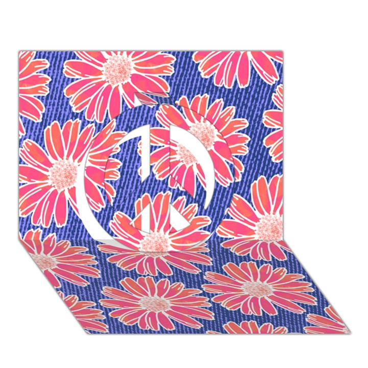 Pink Daisy Pattern Peace Sign 3D Greeting Card (7x5)