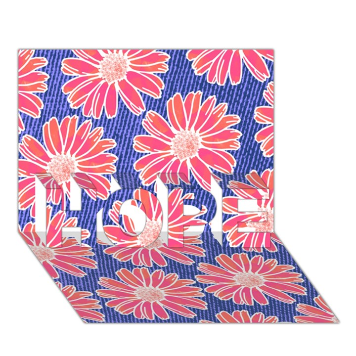 Pink Daisy Pattern HOPE 3D Greeting Card (7x5)