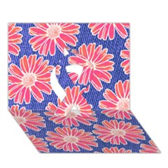 Pink Daisy Pattern Ribbon 3D Greeting Card (7x5)