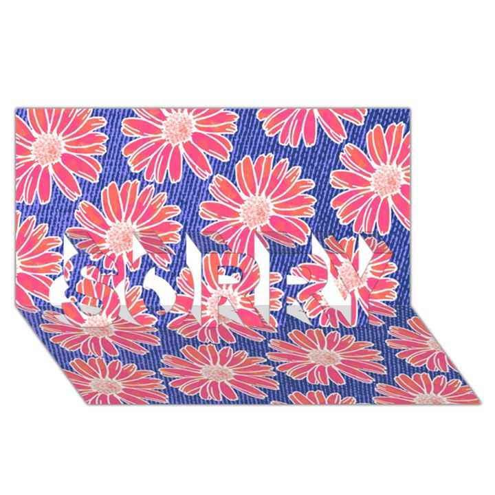 Pink Daisy Pattern SORRY 3D Greeting Card (8x4)