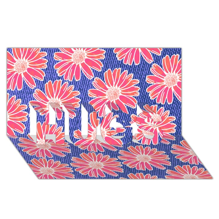 Pink Daisy Pattern HUGS 3D Greeting Card (8x4)