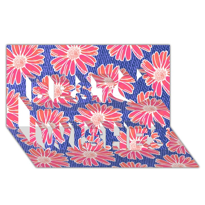 Pink Daisy Pattern Best Wish 3D Greeting Card (8x4)
