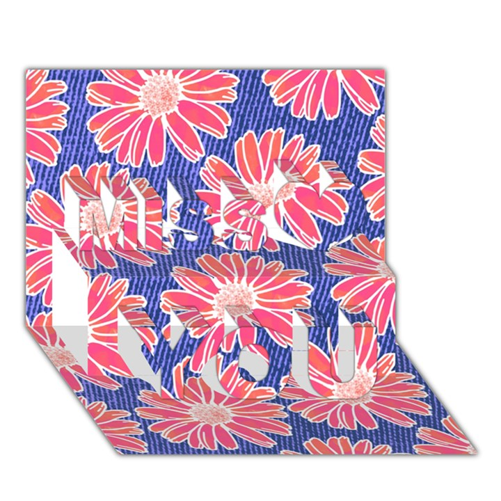 Pink Daisy Pattern Miss You 3D Greeting Card (7x5)