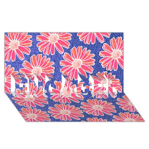 Pink Daisy Pattern ENGAGED 3D Greeting Card (8x4)