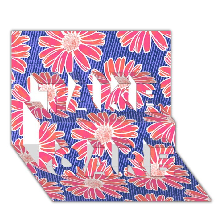 Pink Daisy Pattern TAKE CARE 3D Greeting Card (7x5)