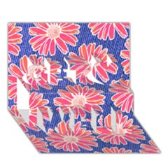 Pink Daisy Pattern Get Well 3d Greeting Card (7x5)