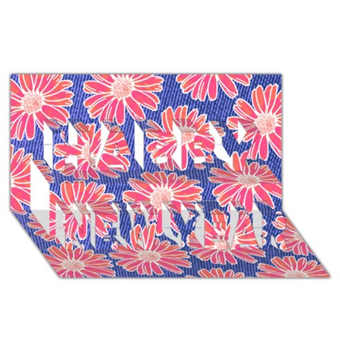 Pink Daisy Pattern Happy New Year 3D Greeting Card (8x4)