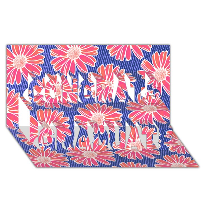Pink Daisy Pattern Congrats Graduate 3D Greeting Card (8x4)