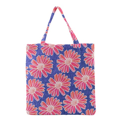 Pink Daisy Pattern Grocery Tote Bag