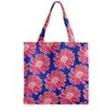 Pink Daisy Pattern Zipper Grocery Tote Bag View1