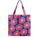 Pink Daisy Pattern Zipper Grocery Tote Bag View2