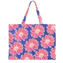Pink Daisy Pattern Large Tote Bag View1
