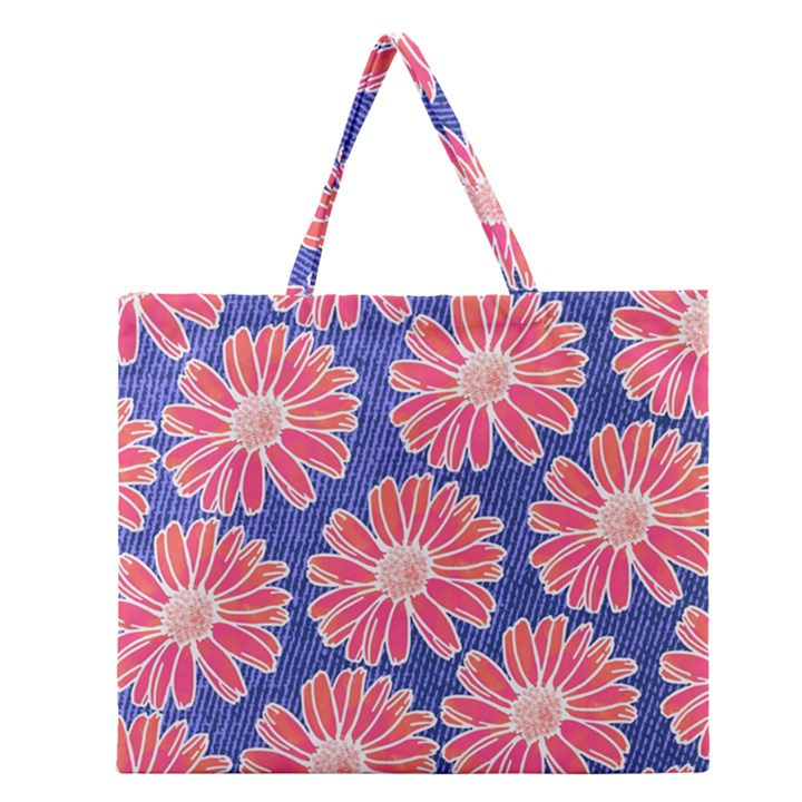 Pink Daisy Pattern Zipper Large Tote Bag
