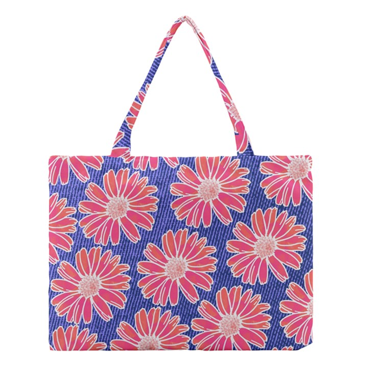 Pink Daisy Pattern Medium Tote Bag