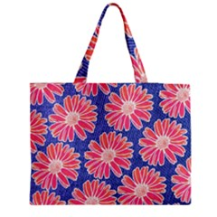 Pink Daisy Pattern Medium Zipper Tote Bag