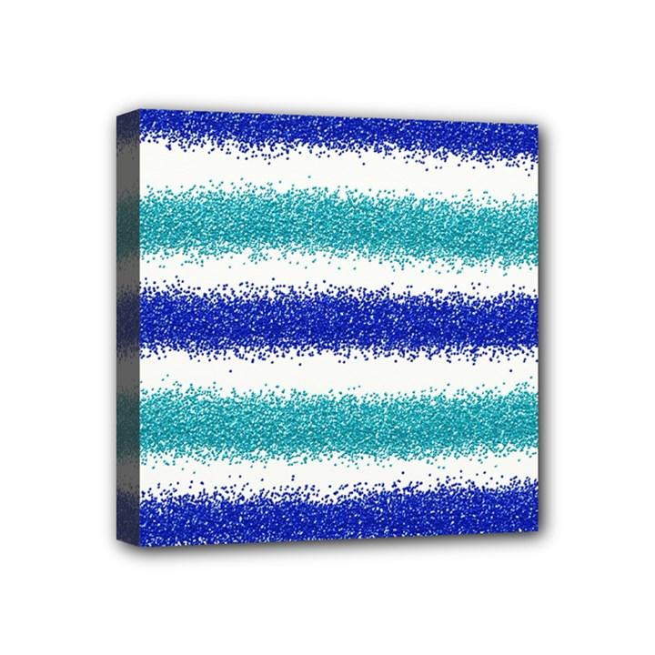Metallic Blue Glitter Stripes Mini Canvas 4  x 4