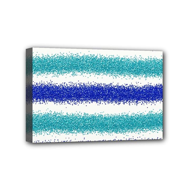 Metallic Blue Glitter Stripes Mini Canvas 6  x 4