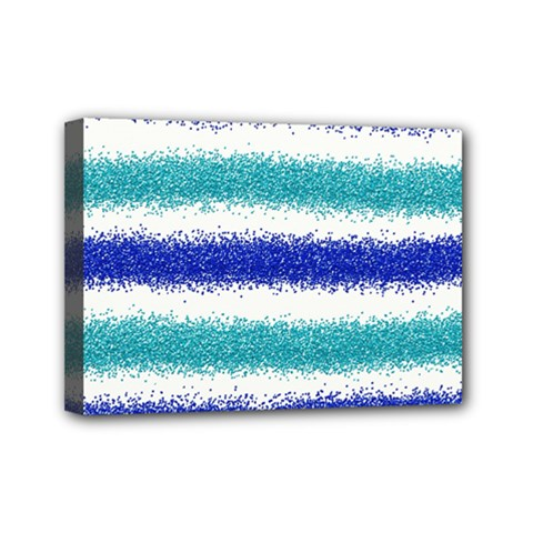 Metallic Blue Glitter Stripes Mini Canvas 7  x 5