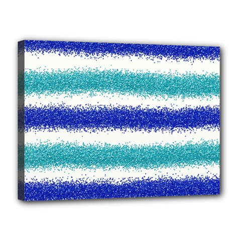 Metallic Blue Glitter Stripes Canvas 16  x 12