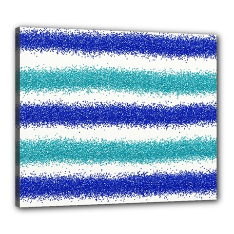 Metallic Blue Glitter Stripes Canvas 24  x 20