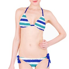 Metallic Blue Glitter Stripes Bikini Set