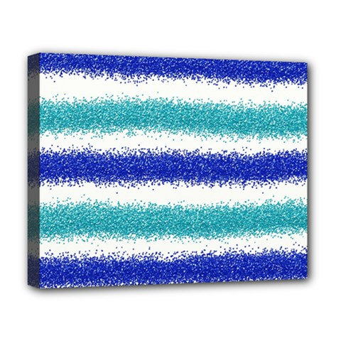 Metallic Blue Glitter Stripes Deluxe Canvas 20  x 16
