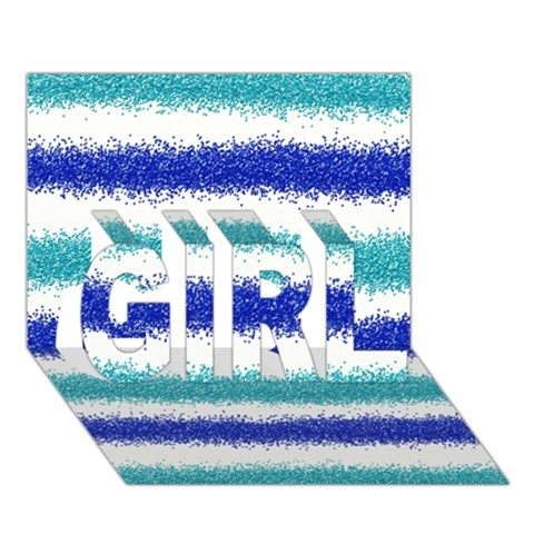 Metallic Blue Glitter Stripes GIRL 3D Greeting Card (7x5)