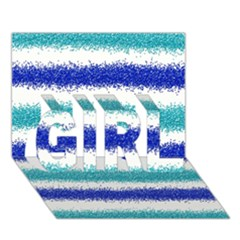 Metallic Blue Glitter Stripes GIRL 3D Greeting Card (7x5)