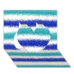Metallic Blue Glitter Stripes Heart 3D Greeting Card (7x5)