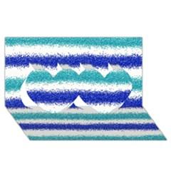 Metallic Blue Glitter Stripes Twin Hearts 3D Greeting Card (8x4)