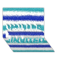 Metallic Blue Glitter Stripes YOU ARE INVITED 3D Greeting Card (7x5)