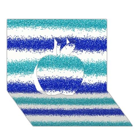 Metallic Blue Glitter Stripes Apple 3D Greeting Card (7x5)