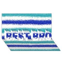 Metallic Blue Glitter Stripes BEST BRO 3D Greeting Card (8x4)