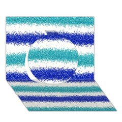 Metallic Blue Glitter Stripes Circle 3D Greeting Card (7x5)