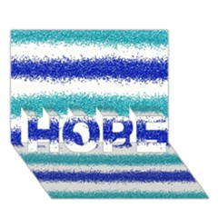Metallic Blue Glitter Stripes HOPE 3D Greeting Card (7x5)