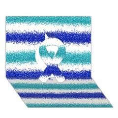Metallic Blue Glitter Stripes Ribbon 3D Greeting Card (7x5)