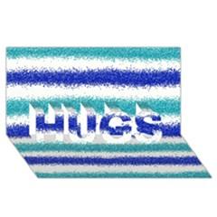 Metallic Blue Glitter Stripes HUGS 3D Greeting Card (8x4)
