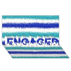 Metallic Blue Glitter Stripes ENGAGED 3D Greeting Card (8x4)
