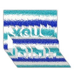 Metallic Blue Glitter Stripes You Did It 3D Greeting Card (7x5)