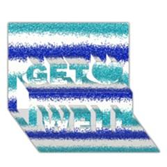 Metallic Blue Glitter Stripes Get Well 3D Greeting Card (7x5)